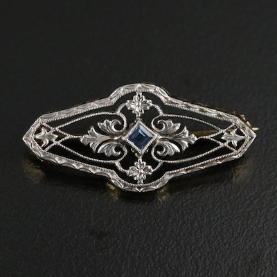Art Deco 14K Yellow Gold Sapphire Brooch With Platinum Top