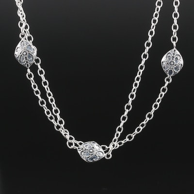 Sterling Silver Double Strand Station Necklace