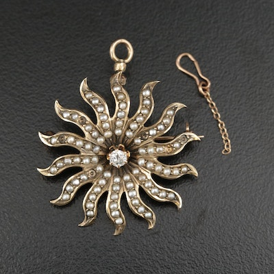 Victorian 10K Yellow Gold Starburst Converter Brooch