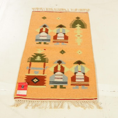 1'8 x 3'8 Hand-Woven Russian Pictorial Kilim Rug, 1980s