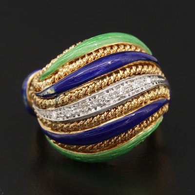 18K Gold Diamond and Enamel Layered Ring