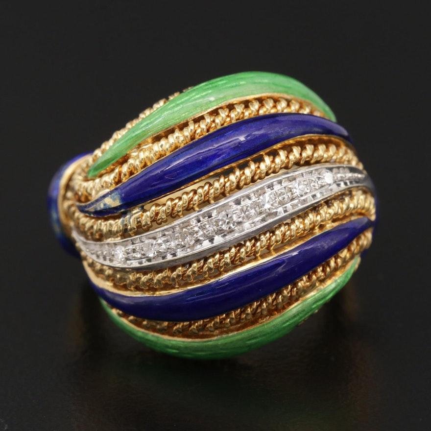 18K Gold Diamond and Enamel Layered Ring