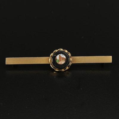 10K Yellow Gold Glass Micro Mosaic Bar Brooch