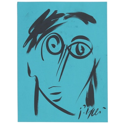 Peter Keil Abstract Portrait Ink Drawing