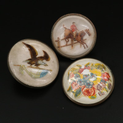 Vintage Glass Topped Brooches Featuring Floral and Equestrian Motifs
