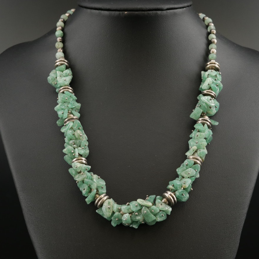 Sterling Silver Aventurine Beaded Necklace