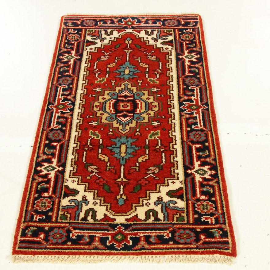 2'2 x 4'3 Hand-Knotted Indo-Persian Heriz Serapi Rug, 2010s