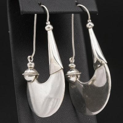 Sterling Silver Fan Hoop Earrings