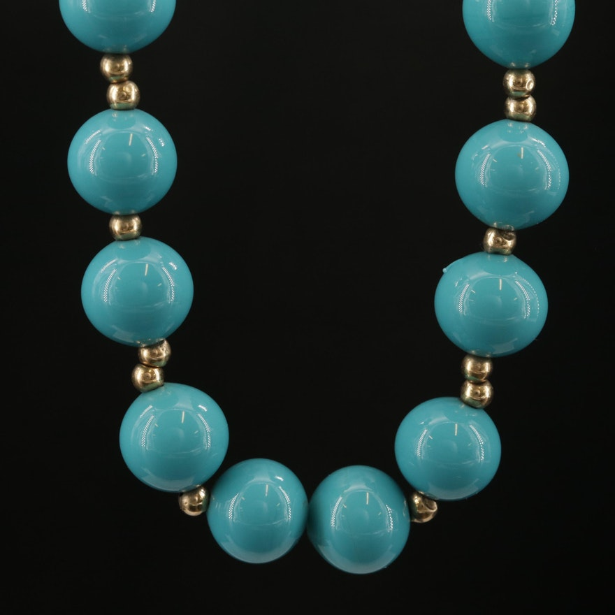 Blue Glass Beaded Necklace with 14K Yellow Gold Clasp