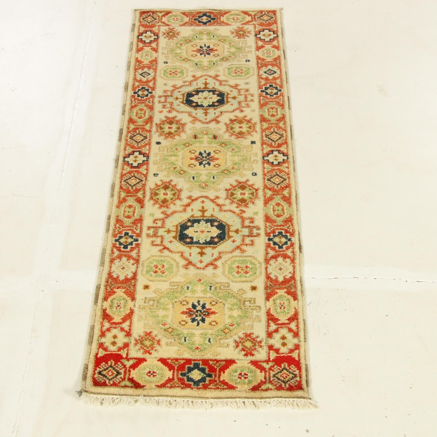 2'2 x 6'10 Hand-Knotted Indo-Caucasian Kazak Carpet Runner, 2010s