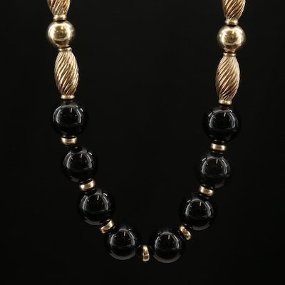 14K Yellow Gold Black Onyx Endless Necklace