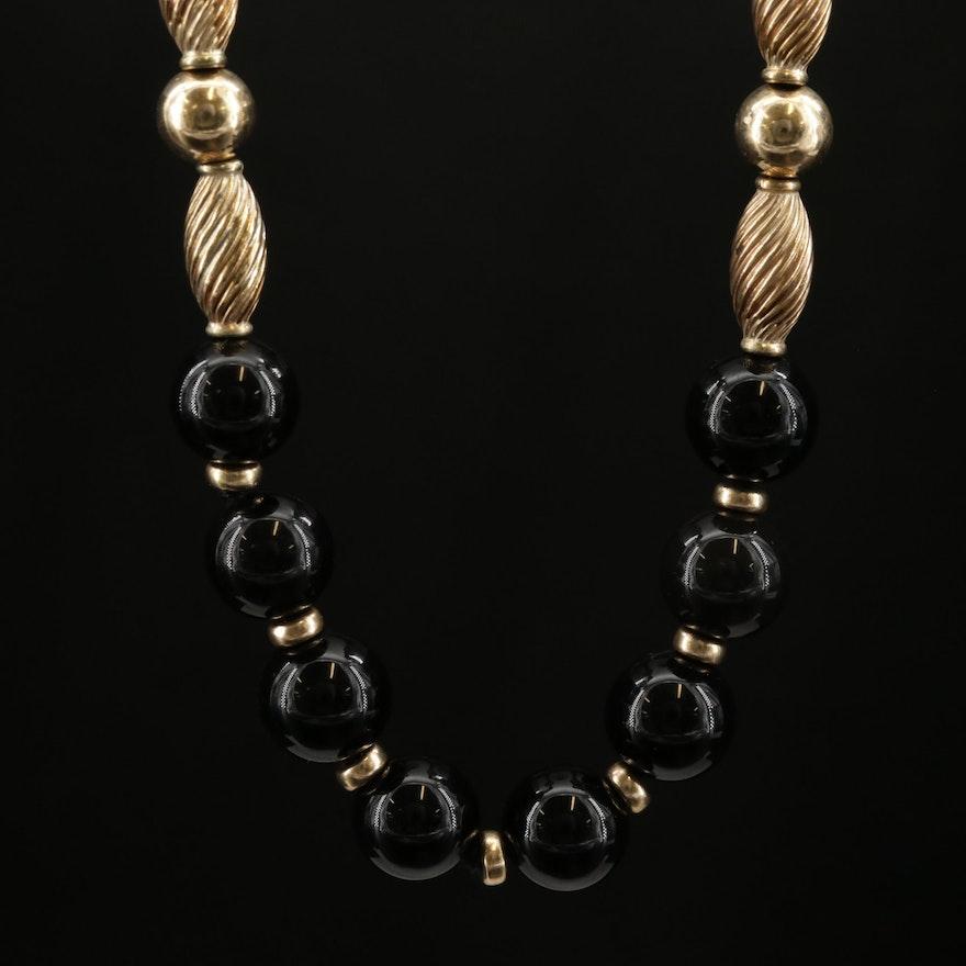 14K Yellow Gold Black Onyx Endless Necklace