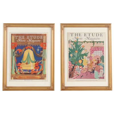 """Framed """"The Etude"""" Magazine Christmas Edition Covers, 1929 and 1931"""
