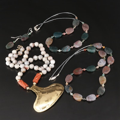Beaded Necklace and Earrings Featuring Sutton Hoo