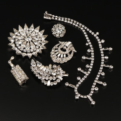 Vintage Rhinestone Jewelry Featuring Warner Starburst Brooch