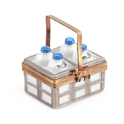 """Parry Vielle """"Milk Crate"""" Hand-Painted Porcelain Limoges Box"""