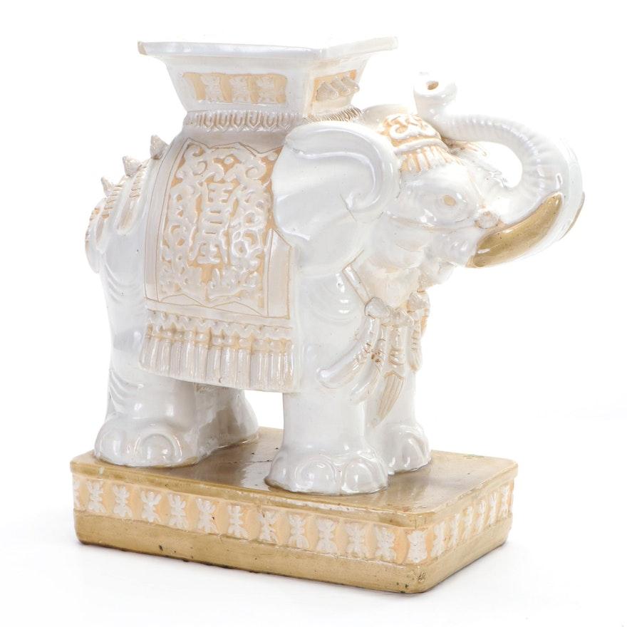 Glazed Ceramic Elephant Garden Stool