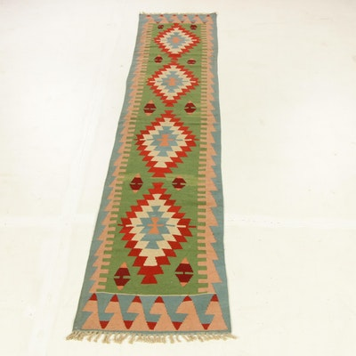 2'6 x 12'2 Hand-Woven Turkish Caucasian Kilim Carpet Runner, 1980s