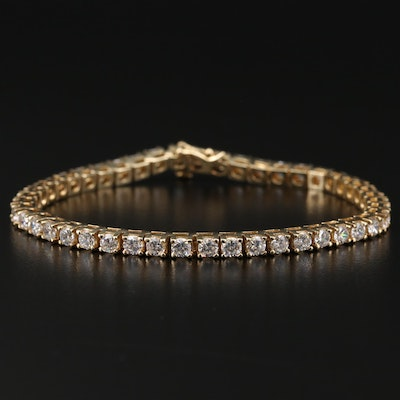 14K Yellow Gold Cubic Zirconia Tennis Bracelet