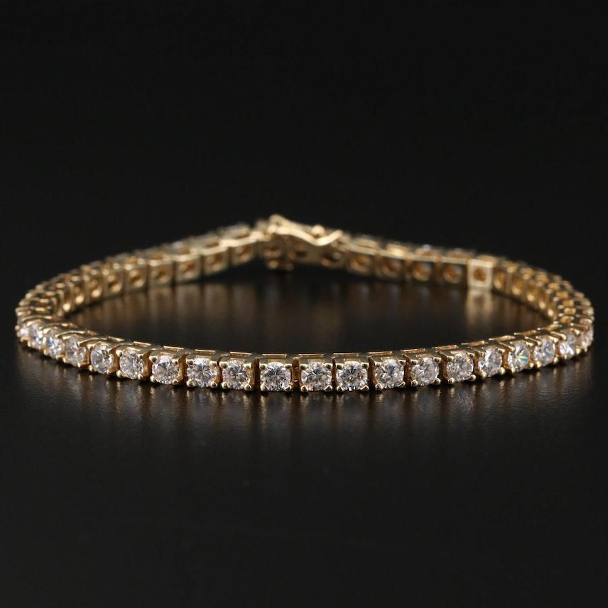 14K Yellow Gold Cubic Zirconia Tennis Bracelet