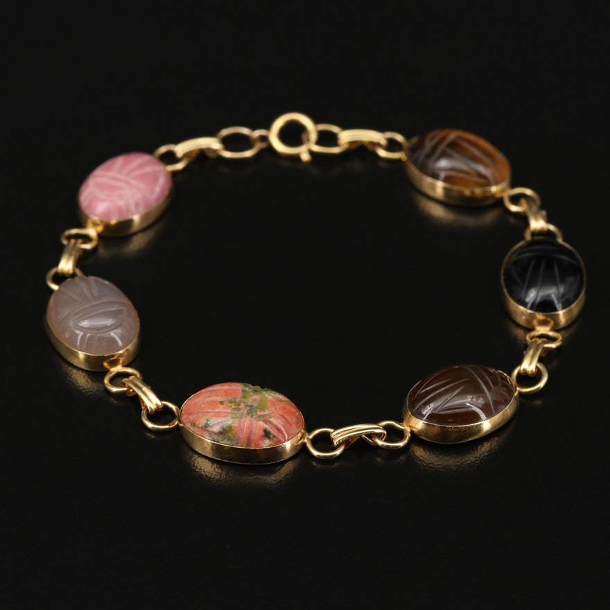 14K Gold Scarab Bracelet with Tiger's Eye, Black Onyx and Agate