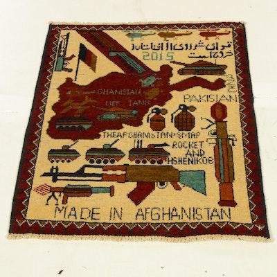 1'11 x 2'8 Hand-Woven Afghani War Pictorial Rug, circa 2015