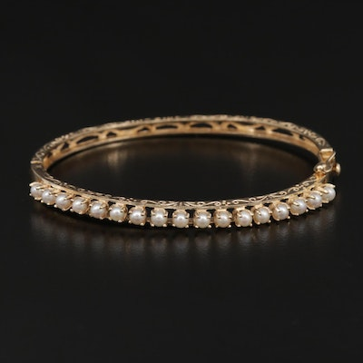 14K Yellow Gold Cultured Pearl Hinged Bracelet