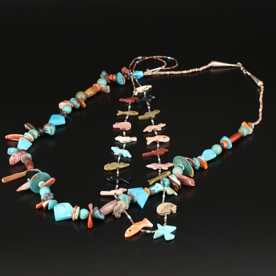 Southwestern Style Fetish and Beaded Gemstone Necklaces with Sterling Findings