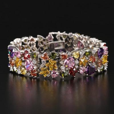 Sterling Silver Multi Colored Cubic Zirconia Confetti Bracelet