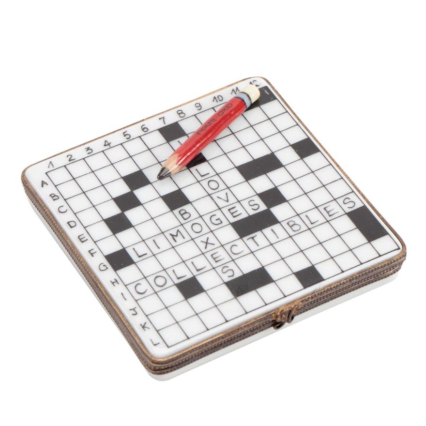 """La Gloriette Hand-Painted """"Crossword Puzzle"""" Porcelain Limoges Box"""