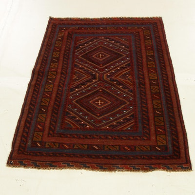 2'8 x 4' Hand-Woven Afghani Turkoman Soumak Rug, 2000s
