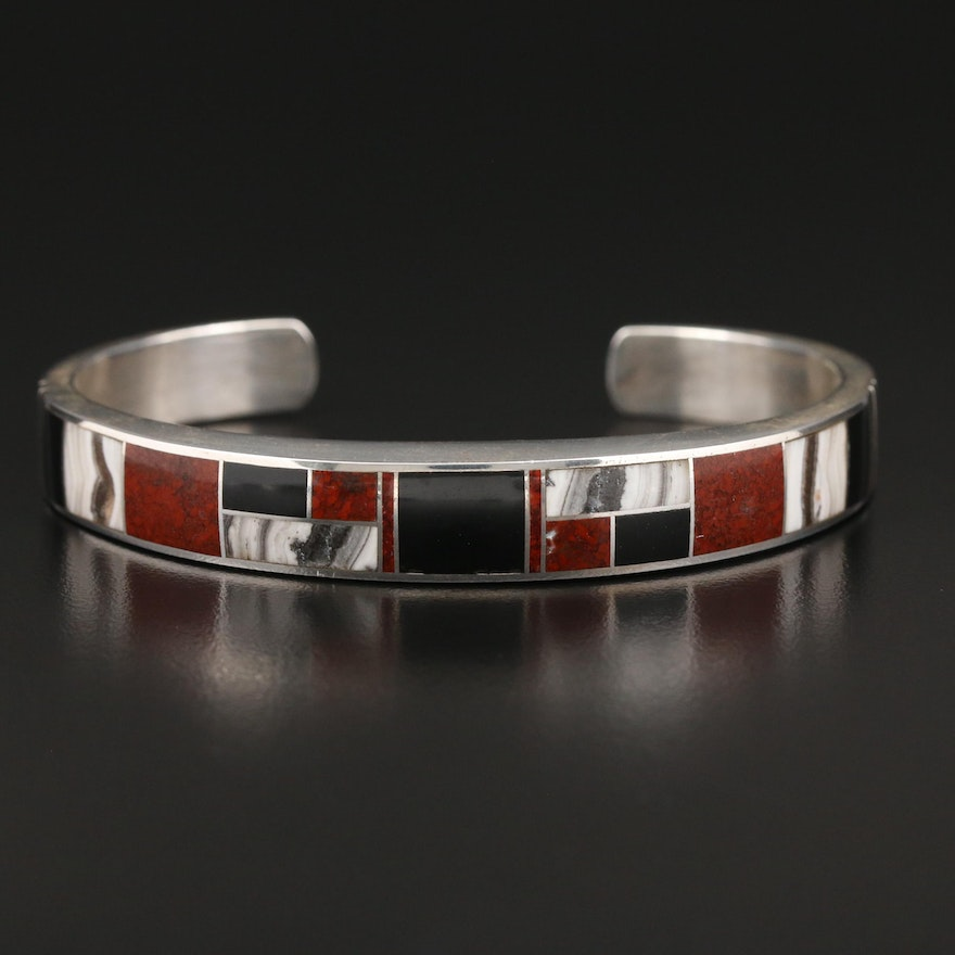 Sterling Jasper, Agate and Jet Inlay Cuff
