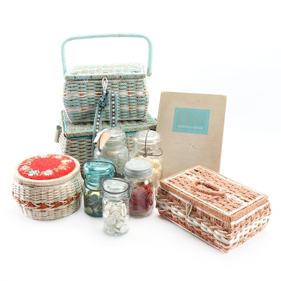Sewing Boxes with Assorted Buttons and Notions