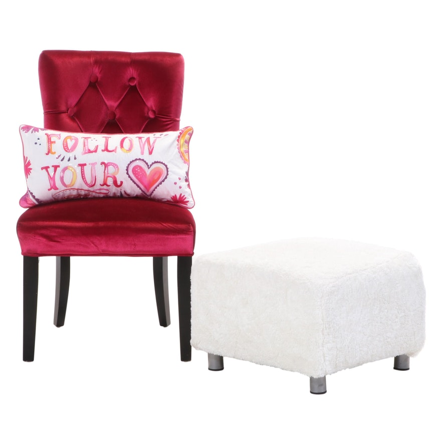 Dark Pink Button-Tufted Side Chair Plus Throw Pillow and Ikea Footstool