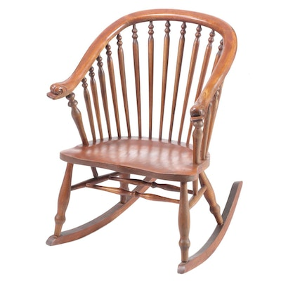 Mahogany-Stained Birch Dolphin-Arm Rocking Chair, Early 20th Century