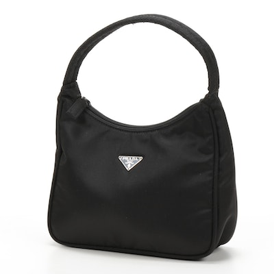 Prada Black Mini Tessuto Nylon Top-Handle Bag