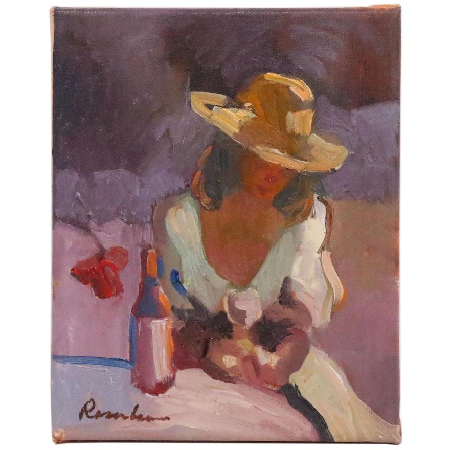 Sally Rosenbaum Oil Painting of Woman Wearing Hat, 2020