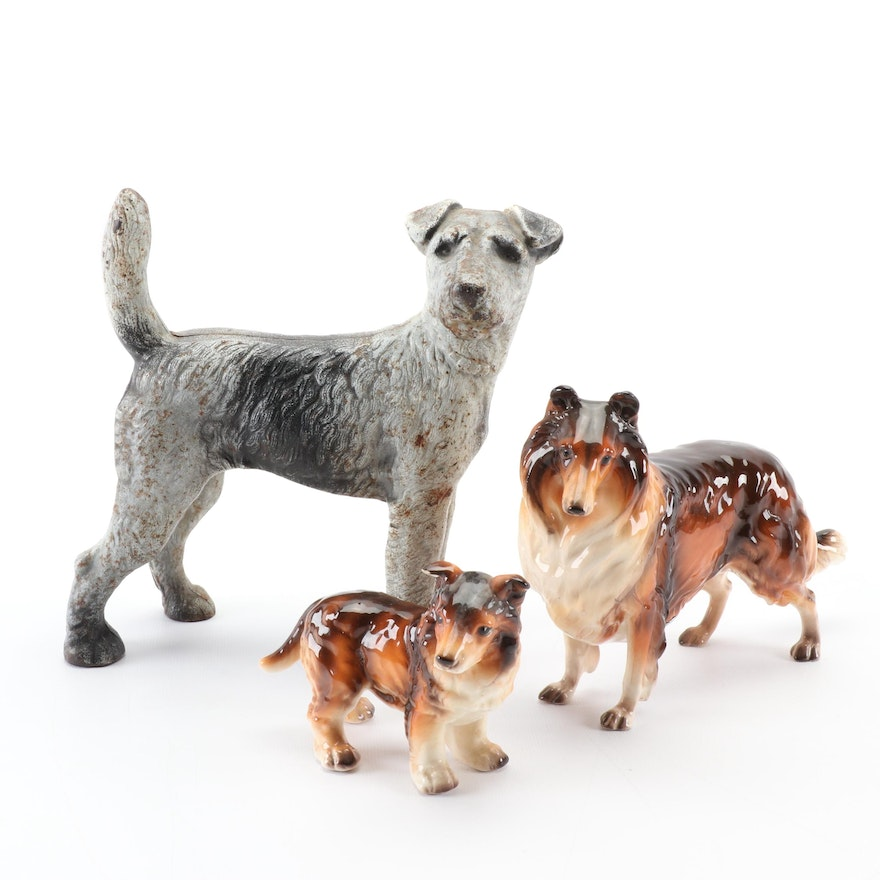 Shafford Porcelain Collie Figurines and Cast Iron Terrier