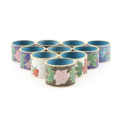 Chinese Cloisonné Napkin Rings with Floral Motif, Mid to Late 20th Century