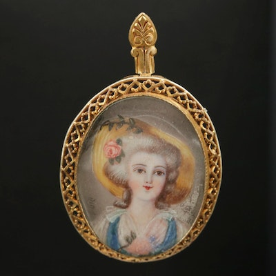 Vintage Painted Portrait Converter Brooch With Acrylic Cover