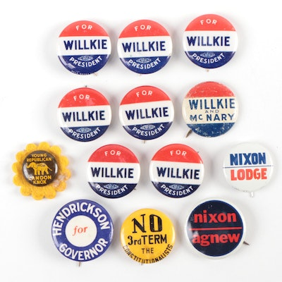 Nixon and Wilkie Presidential Campaign Pin-Back Buttons