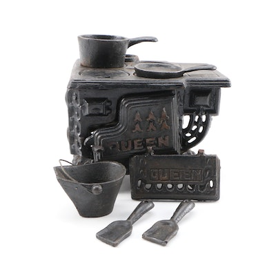 """Queen"" Cast Iron Salesman's Sample Stove with Pots and Pans"