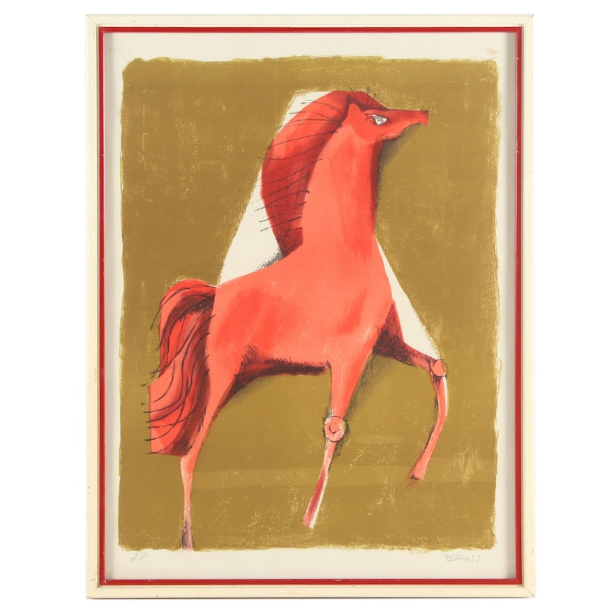 Sami Briss Lithograph of Red Horse
