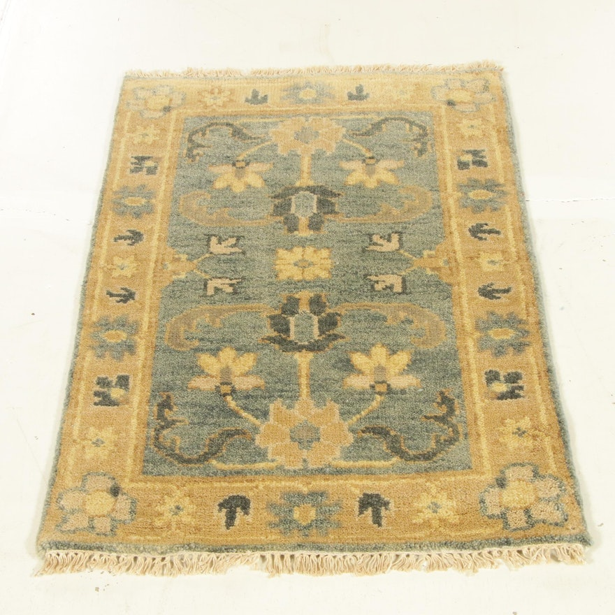 2'1 x 3' 3 Hand-Knotted Indo-Turkish Oushak Rug, 2010s