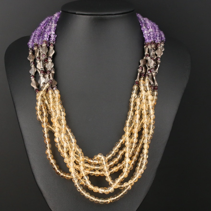 Sterling Silver Beaded Multi-Strand Necklace with Citrine, Amethyst and Garnet