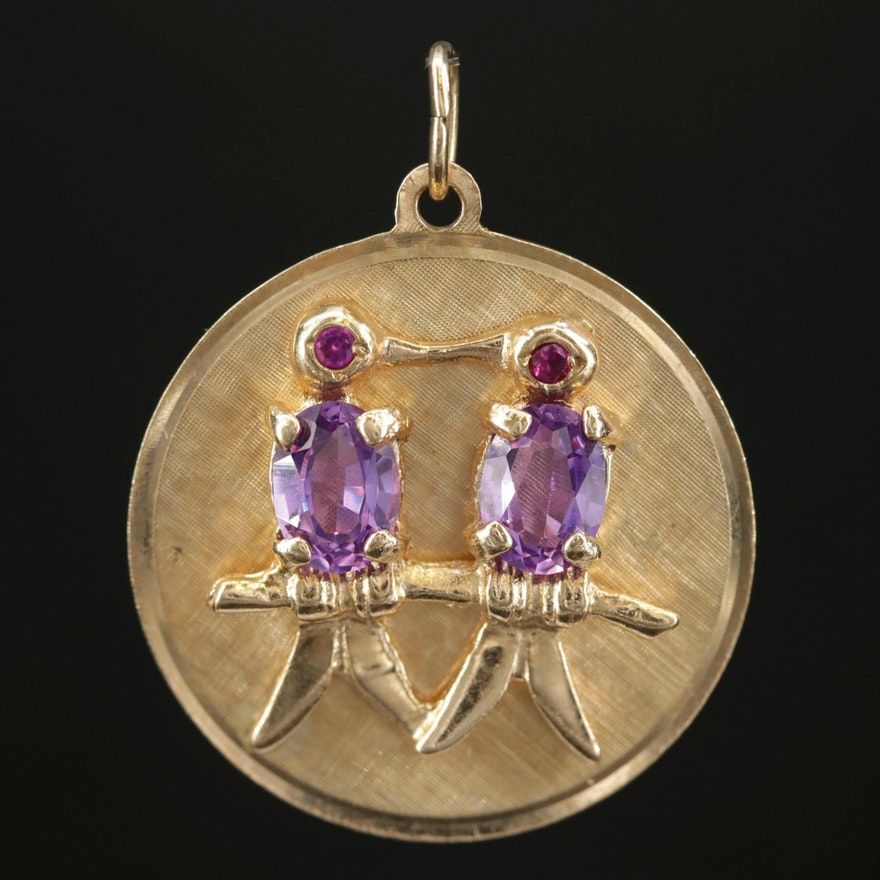 14K Yellow Gold Synthetic Pink Sapphire and Synthetic Ruby Bird Pendant