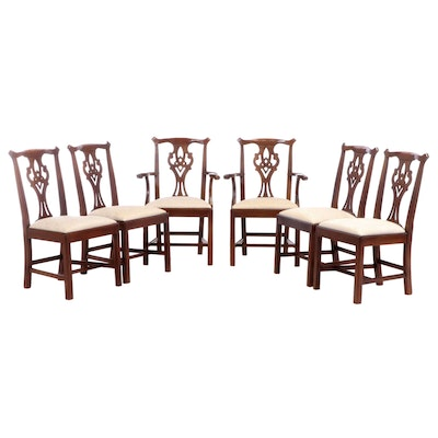 Chippendale Style Thomasville Mahogany-Stained Dining Chairs, Late 20th Century
