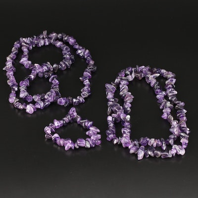 Beaded Amethyst Necklaces and Bracelet
