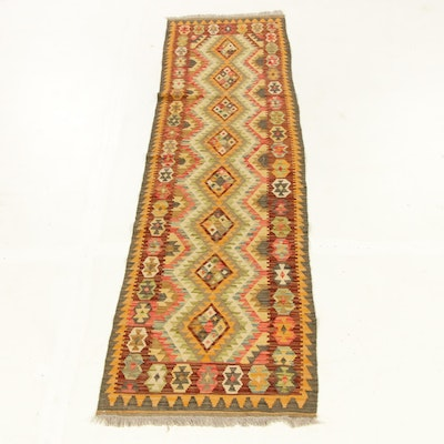 2'7 x 10'1 Handwoven Turkish Caucasian Kilim Carpet Runner, 2010s