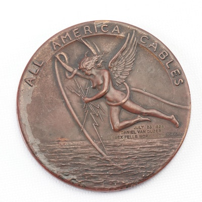 All America Cables 50th Anniversary Commemorative Bronze Medal, 1928